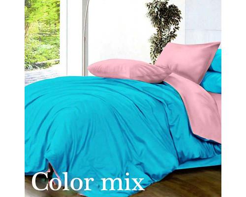 Постільна білизна євро дво кольорова ранфорс Color Mix Step