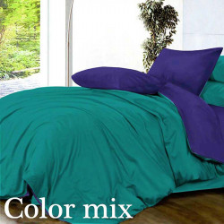 Постільна білизна євро дво кольорова ранфорс Color Mix Tst