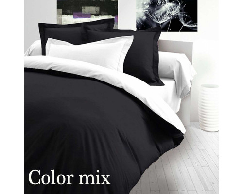 Двуспальное постельное белье двух цветов ранфорс Сolor Mix Dark