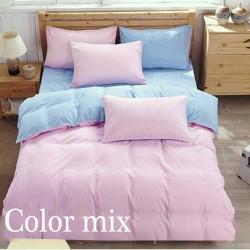 Постільна білизна євро дво кольорова ранфорс Color Mix  Set Peps