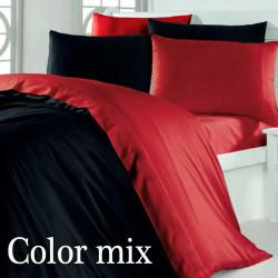 Двоспальна постільна білизна двох кольорів сатин Color Mix Black and Red