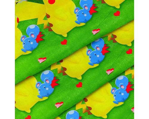 Ткань для постельного белья детская ранфорс Покемон 4432