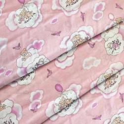 Ткань для детского постельного белья бязь Мишки на розовом 8387