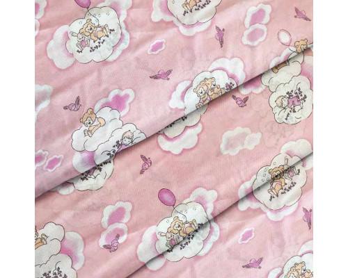 Тканина для дитячої постільної білизни бязь Ведмедики на рожевому 8387