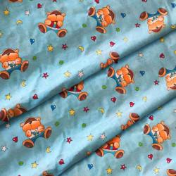 Ткань для детского постельного белья бязь Мишки цветные на голубом 6221