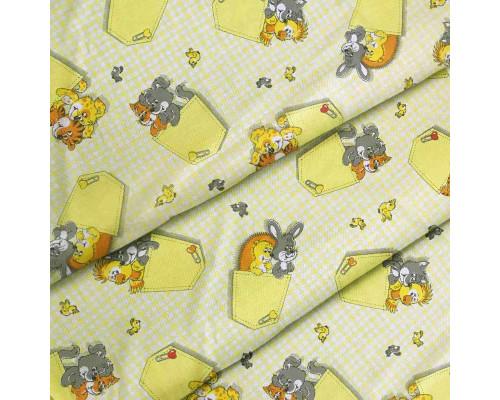 Тканина для дитячої постільної білизни бязь Кишені 2949