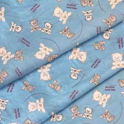 Ткань для детского постельного белья бязь Мишки белые на голубом 2956