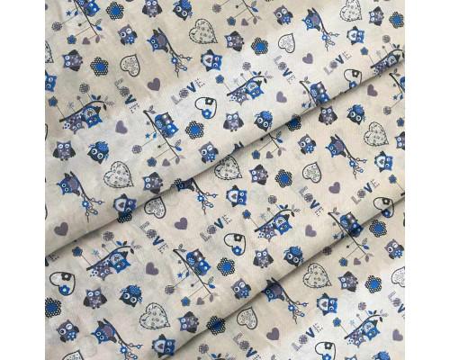 Ткань для детского постельного белья бязь Совы 7197