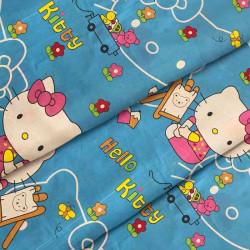 Ткань для детского постельного белья бязь Hello Kitty Blue 8262