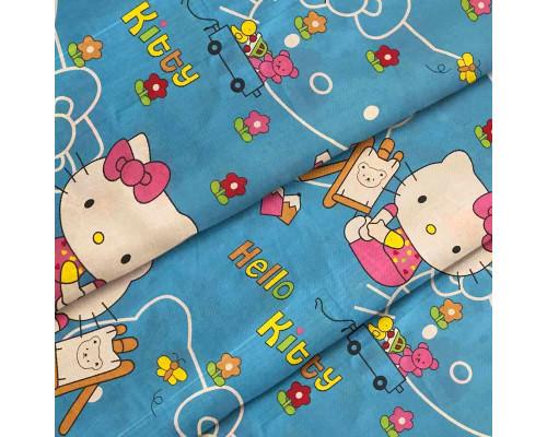 Тканина для дитячої постільної білизни бязь Hello Kitty Blue 8262